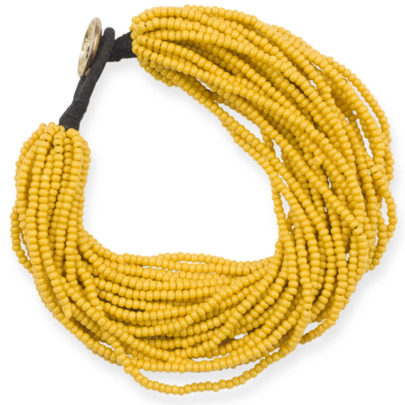 Mustard Yellow Multi Layer Seed Bead Bracelet