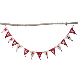 72in Red and White Merry Christmas Flag Garland