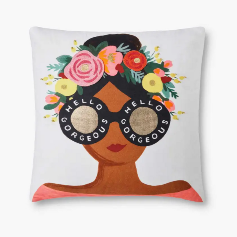 "Rifle Paper Co: White Hello Gorgeous Pillow - 18"" x 18"""