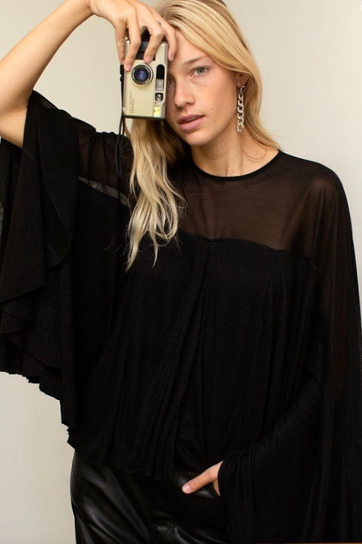 FP Black Flowy Top With Sheer Shoulder- Regular Price $108 SALE 30% off!