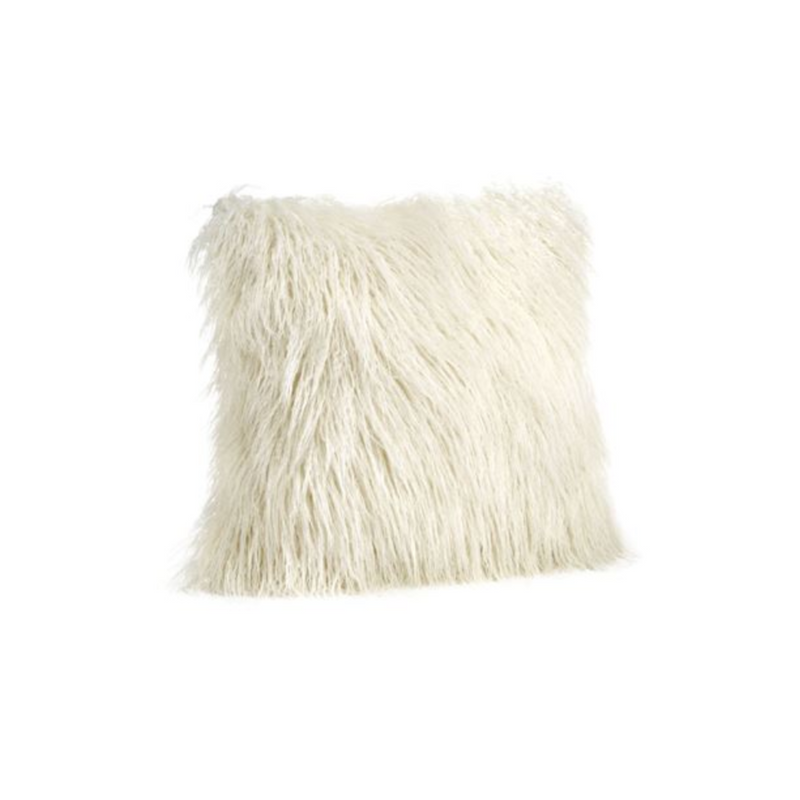"Ivory Tibetan 18"" Faux Fur Pillow"