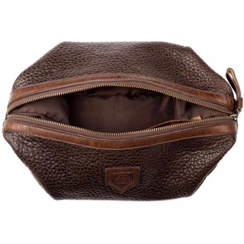Theodore Leather Wash Bag Espresso