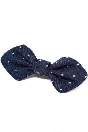 Dog Bowtie Denim Polkadot Small