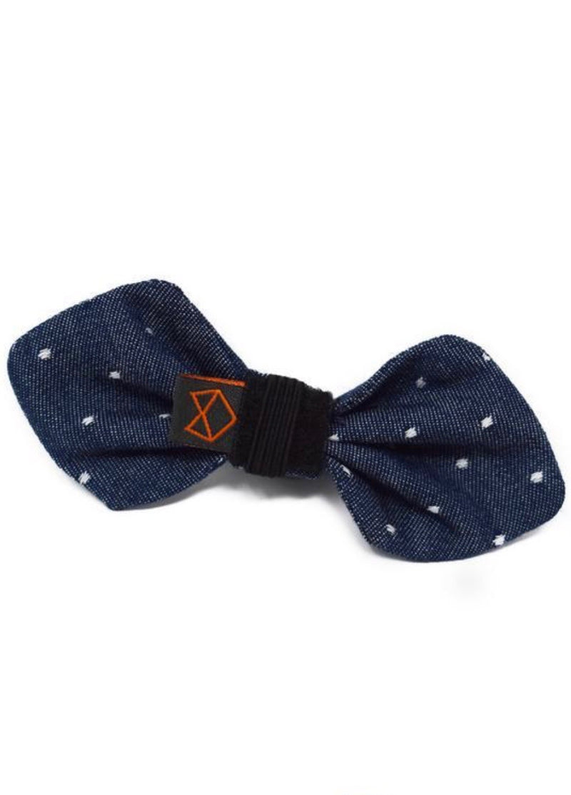 Dog Bowtie Denim Polkadot Medium