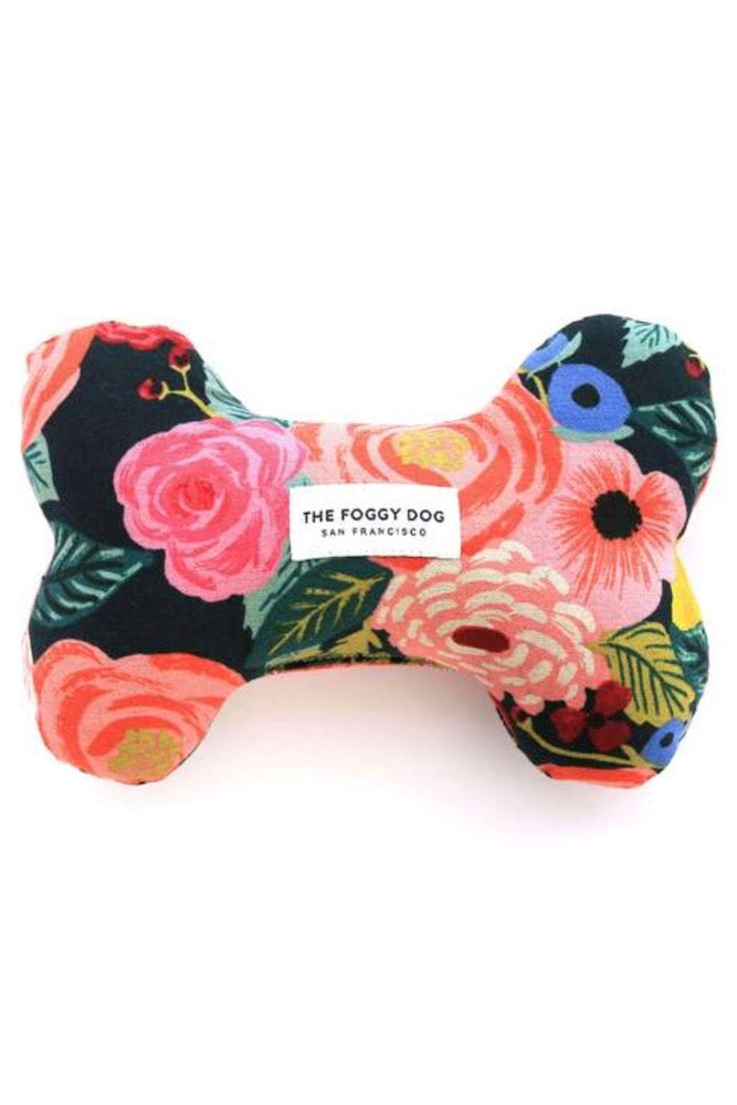 Painted Peonies Midnight Dog Squeaky Toy