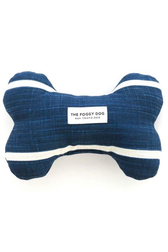 Modern Stripe Navy Dog Squeaky Toy