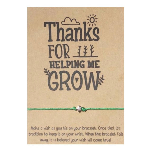Thanks For Helping Me Grow Wish Card and Bracelet