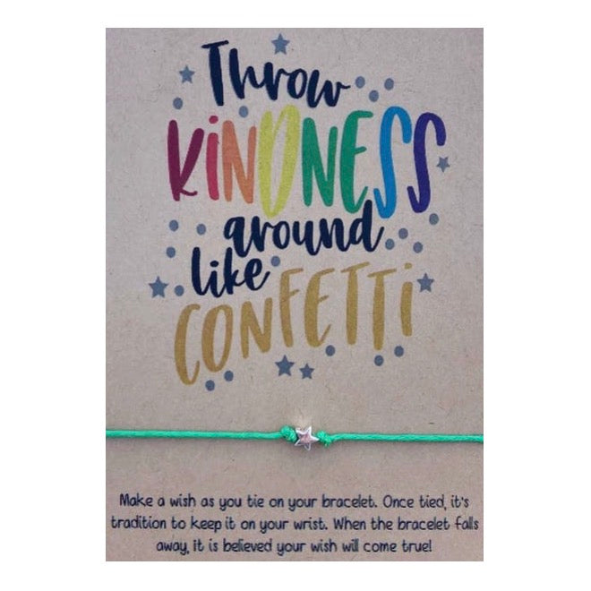 Throw Kindness Around Like Confetti Wish Card and Bracelet