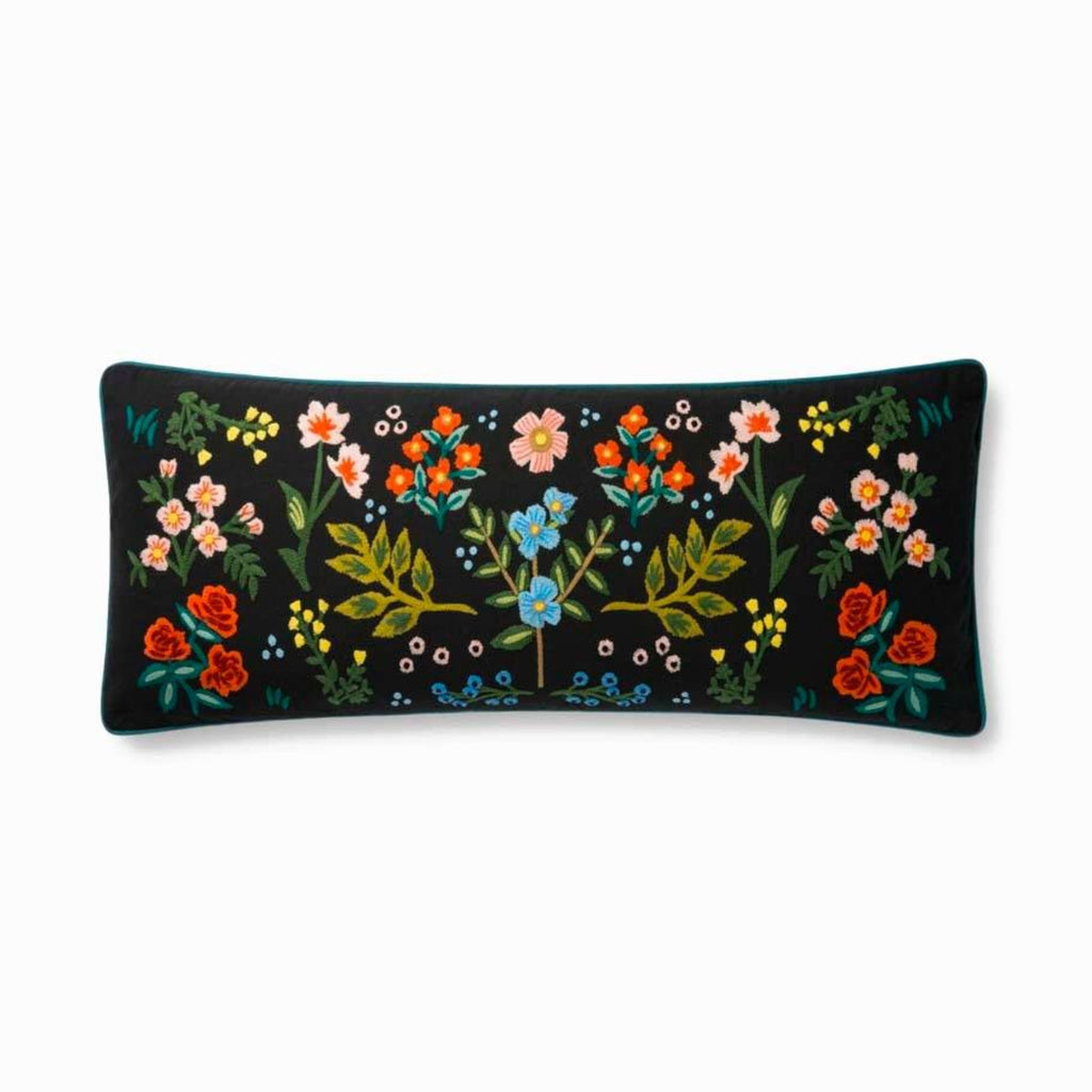 "Rifle Paper Co: Wildwood Embroidered Pillow- Black 13"" X 35"""