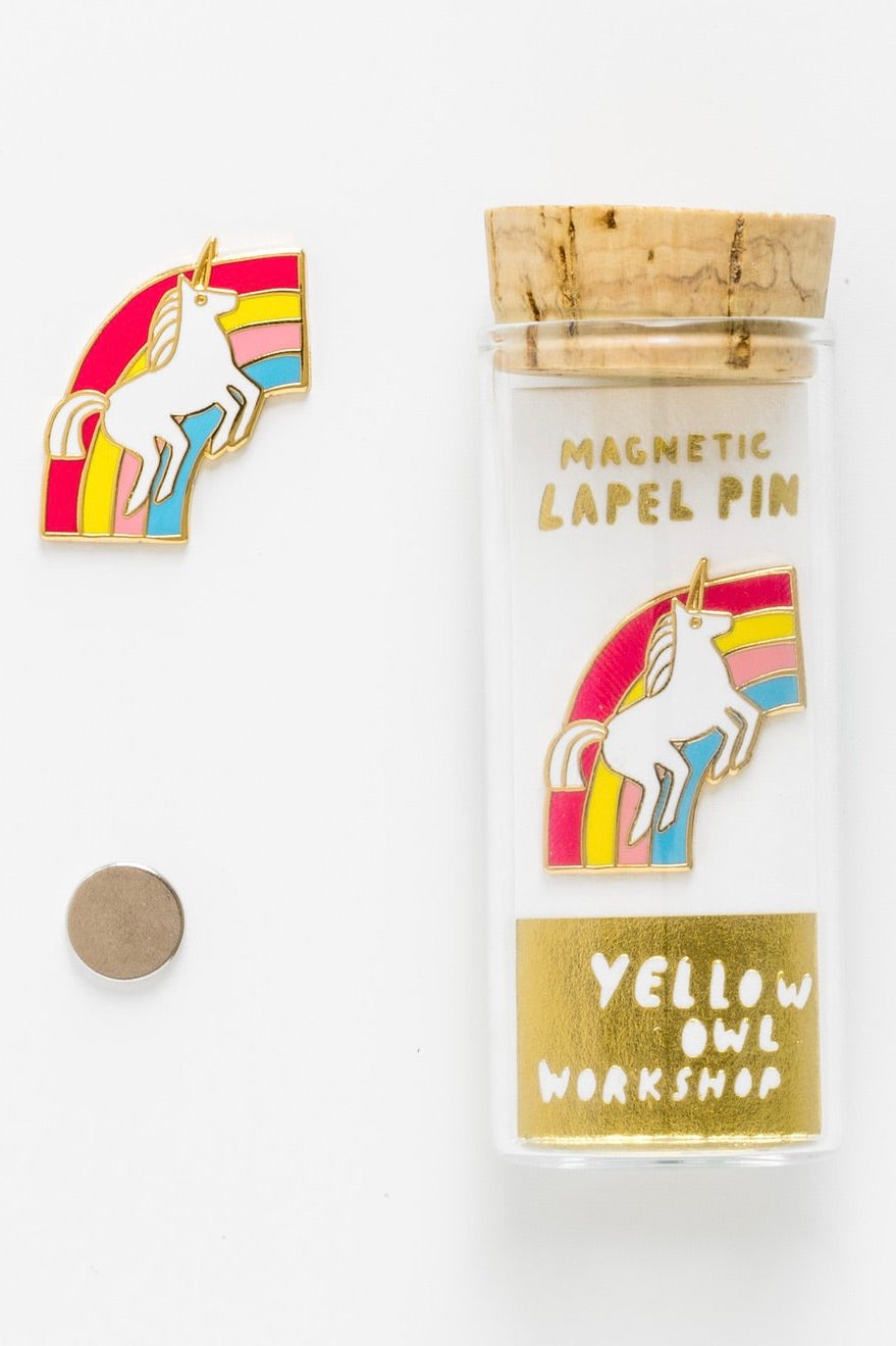 Unicorn and Rainbow Magnetic Lapel Pin