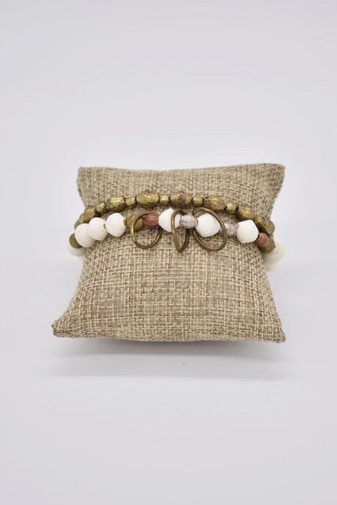 Ammo and Paper Bracelet Set- Ivory