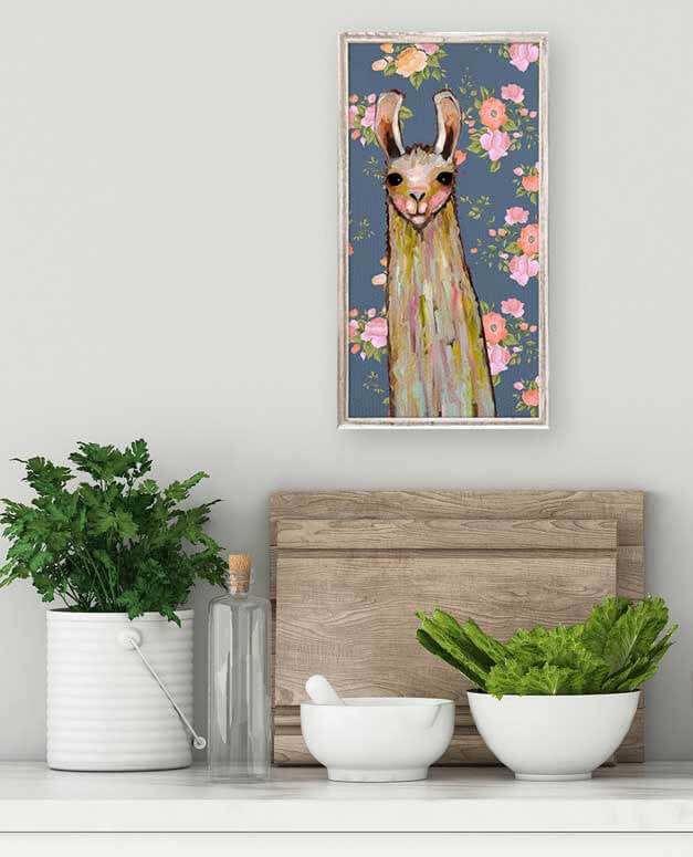 Baby Llama Floral and White Mini Framed Canvas 5x10