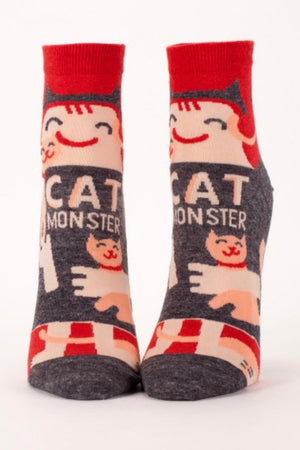 blueq-SW618-womens-ankle-socks-cat-monster