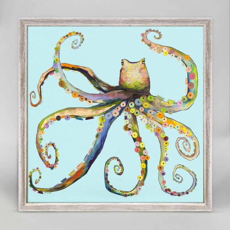 Bright Octopus Rustic White Mini Framed Canvas 6x6