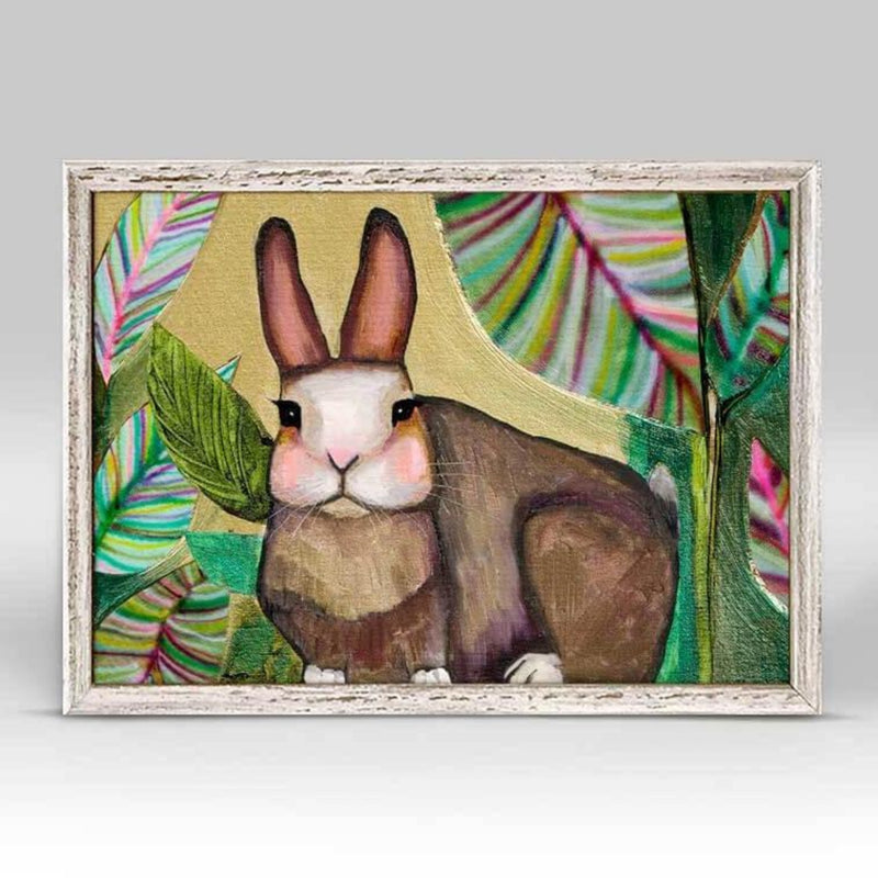 Carrot Cake Bunny In Leaves Rustic White Mini Framed Canvas 6x6