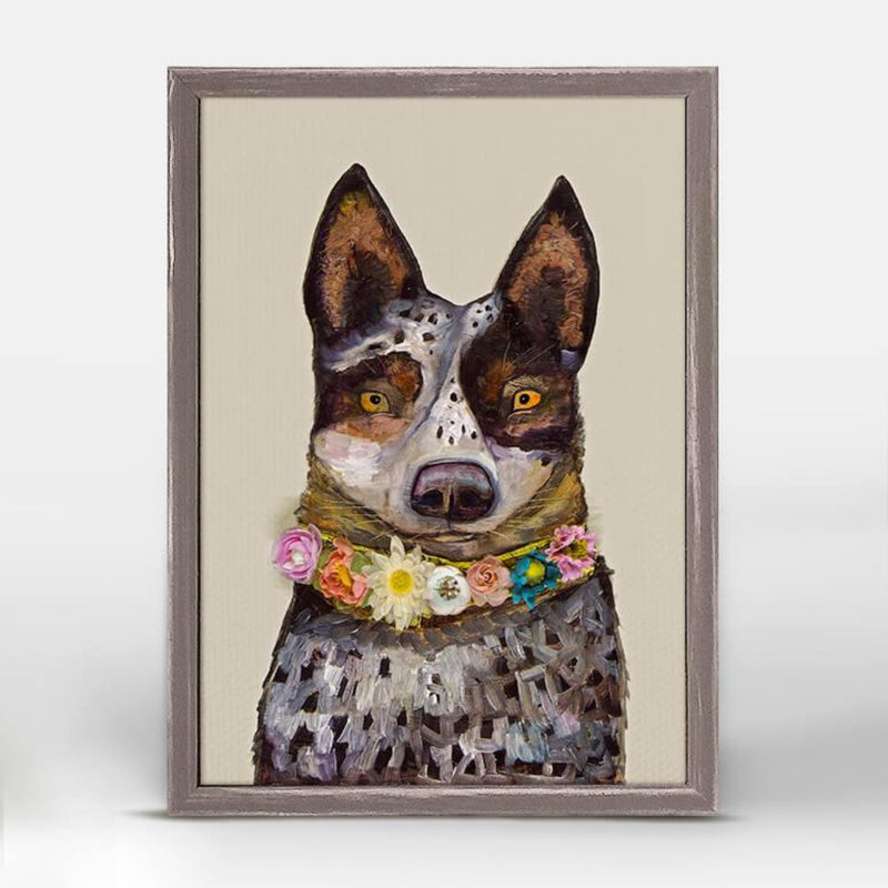 Cattle Dog Mini Framed Canvas 5x7