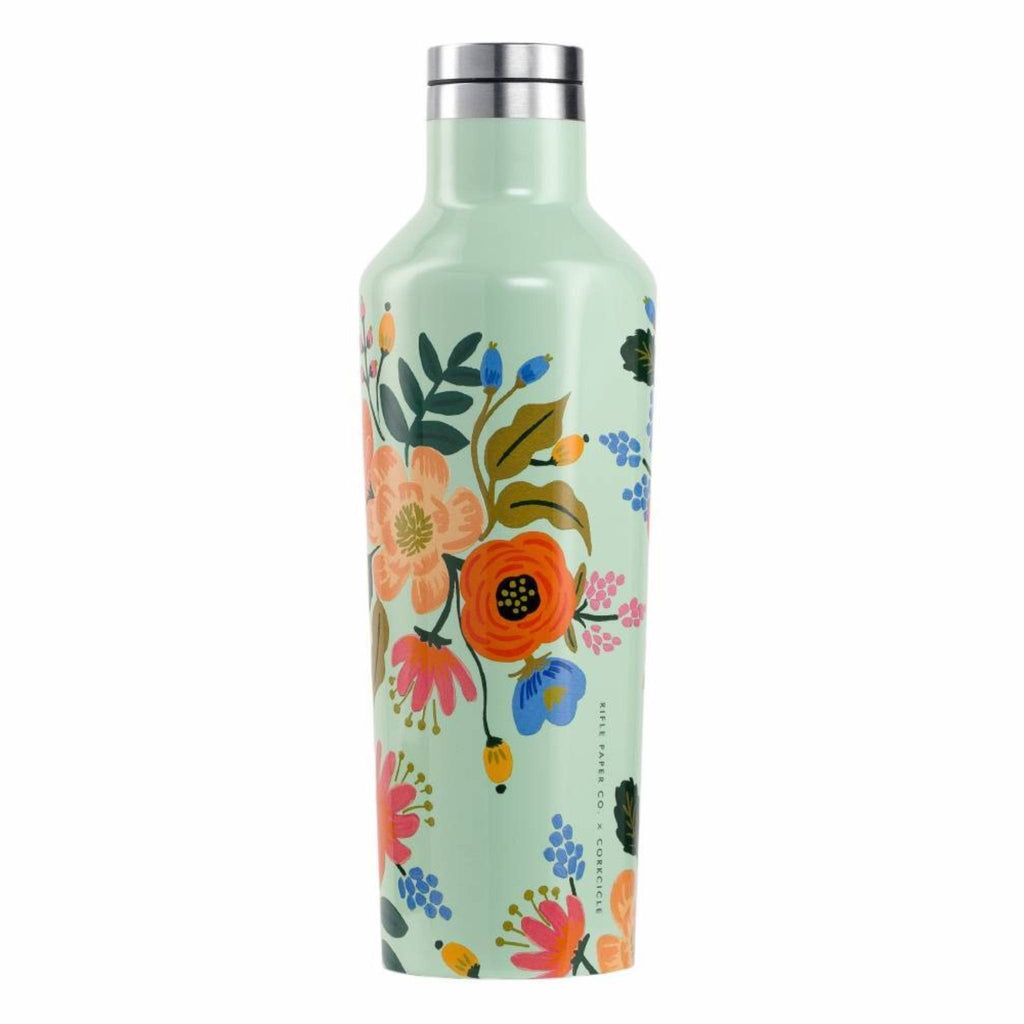 Corkcicle 16oz Canteen Rifle Paper Gloss Mint Lively Floral