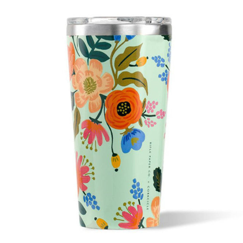 Corkcicle 16oz Tumbler Rifle Paper Gloss Mint Lively Floral
