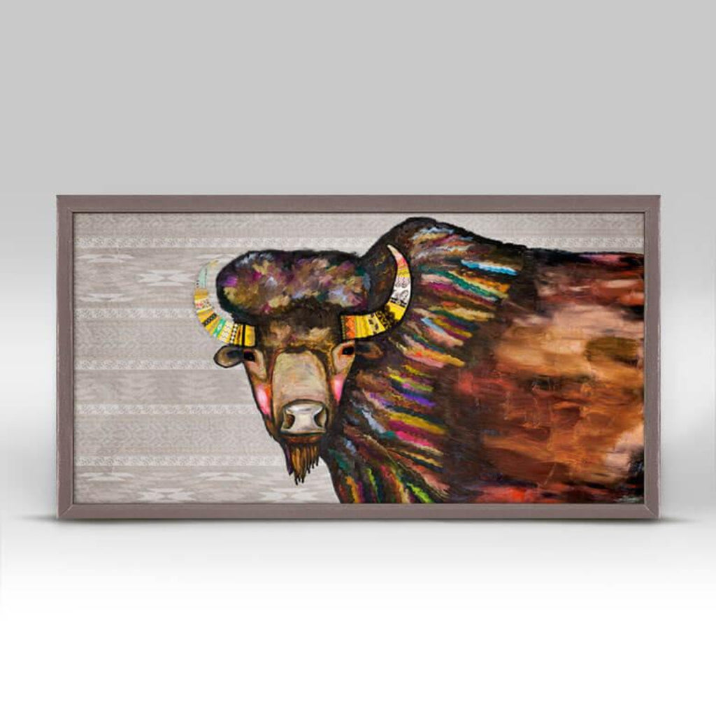 Crowned Bison Mini Framed Canvas 10x5