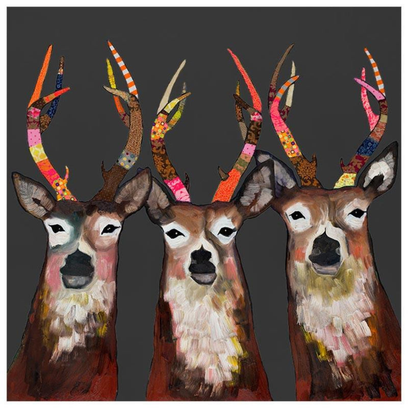 Designer Deer on Charcoal Canvas Wall Art 24x24
