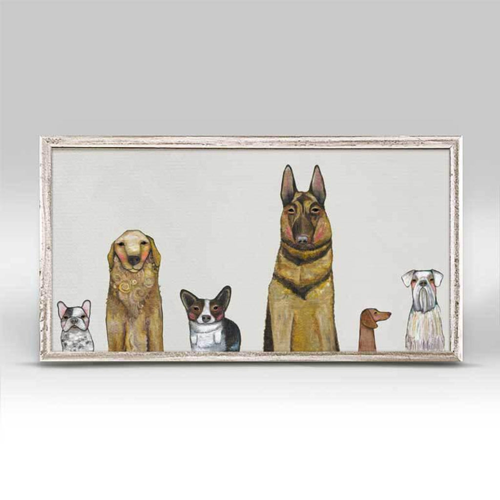 Dogs Dogs Dogs Gray Mini Framed Canvas 5x10