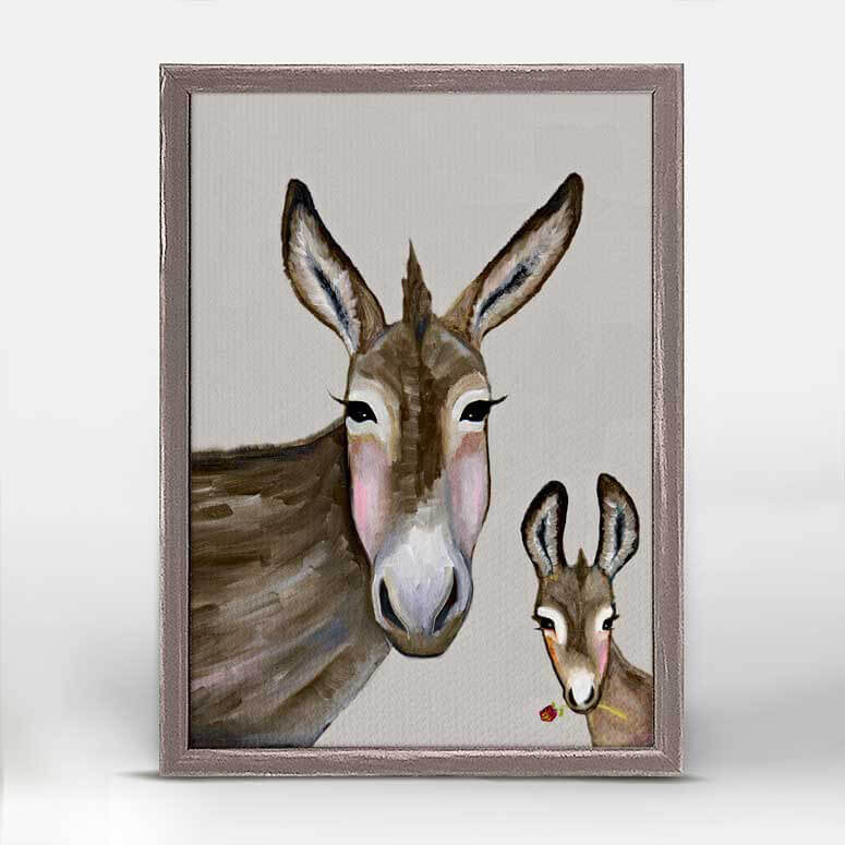 Donkey And Baby Rustic Natural Mini Framed Canvas 5x7