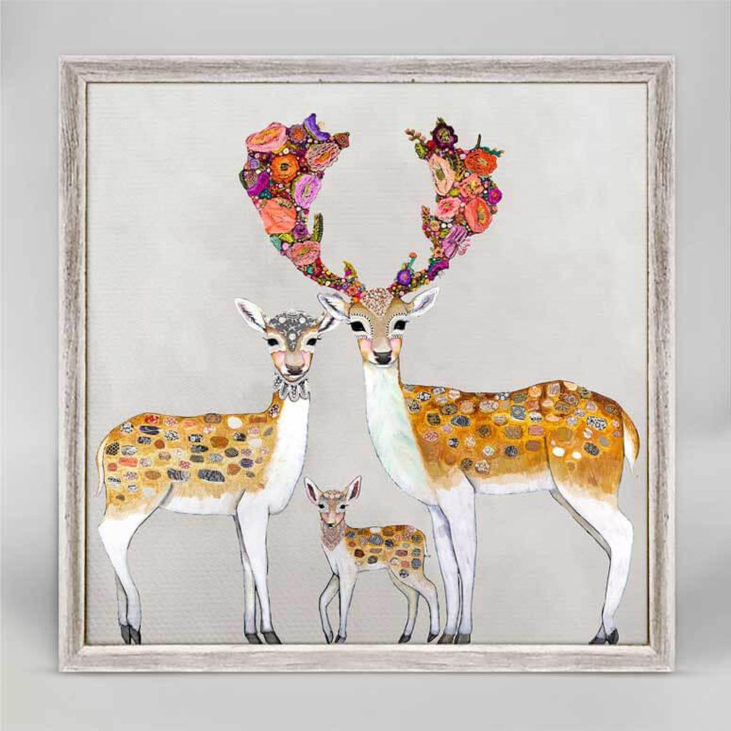 Fallow Deer Family Neutral Rustic White Mini Framed Canvas 6x6