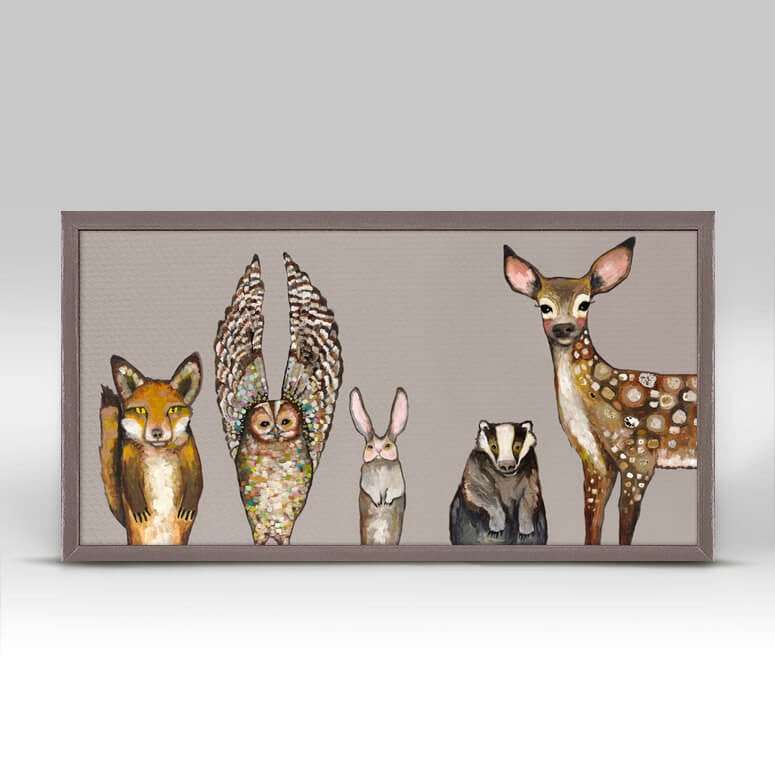 Forest Animals Taupe Rustic Natural Mini Framed Canvas 10x5
