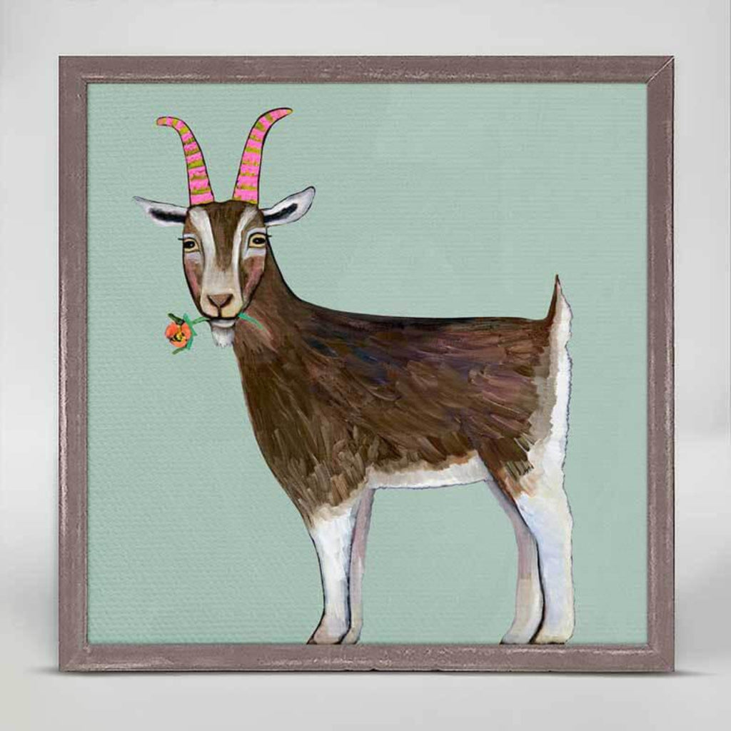 Goat With Flower Rustic Natural Mini Framed Canvas 6x6