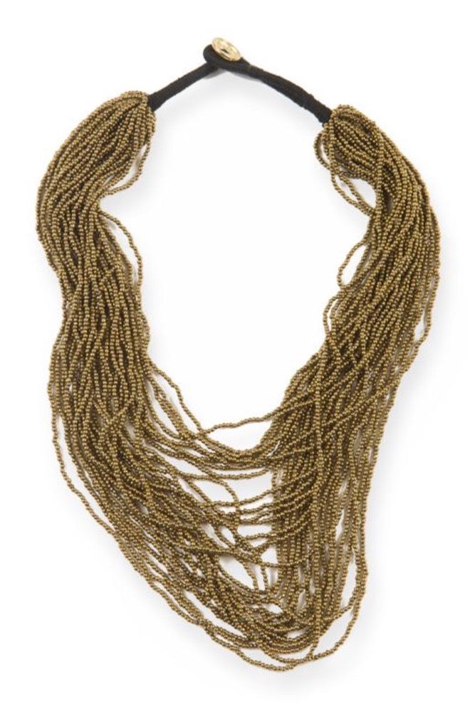 Gold Bead Multi layered necklace