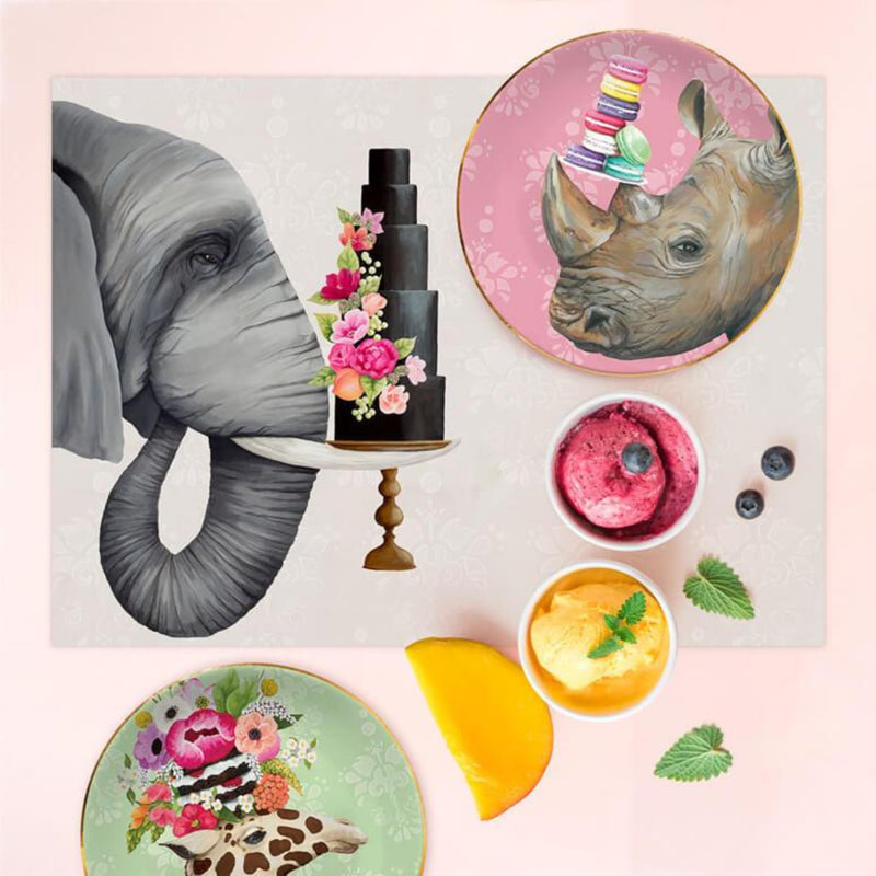 Haute Elephant with Floral Cake Vinyl Placemat