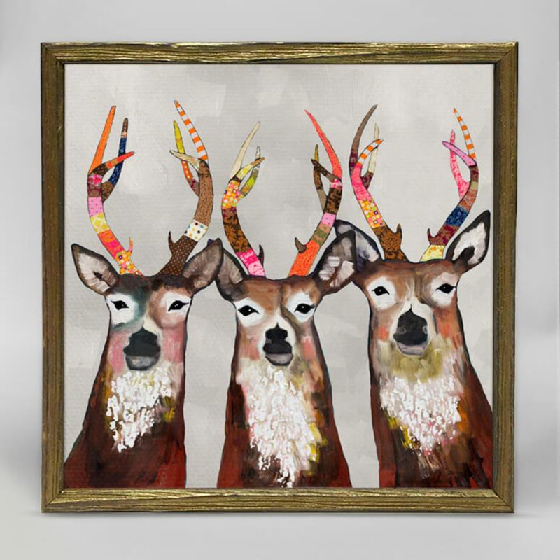 Designer Deer Embellished Mini Framed Canvas 6x6