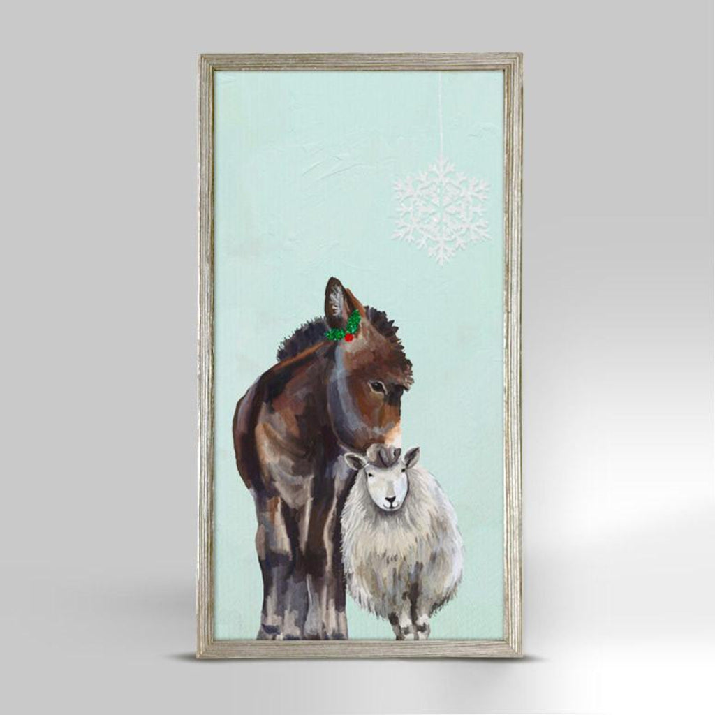 Holiday Festive Donkey and Sheep Mini Framed Canvas Rustic 10x5