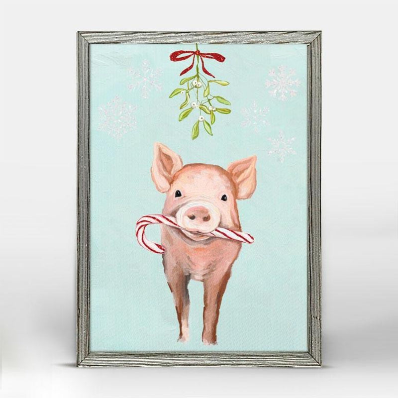 Festive Pig Holiday Mini Framed Canvas 5x7