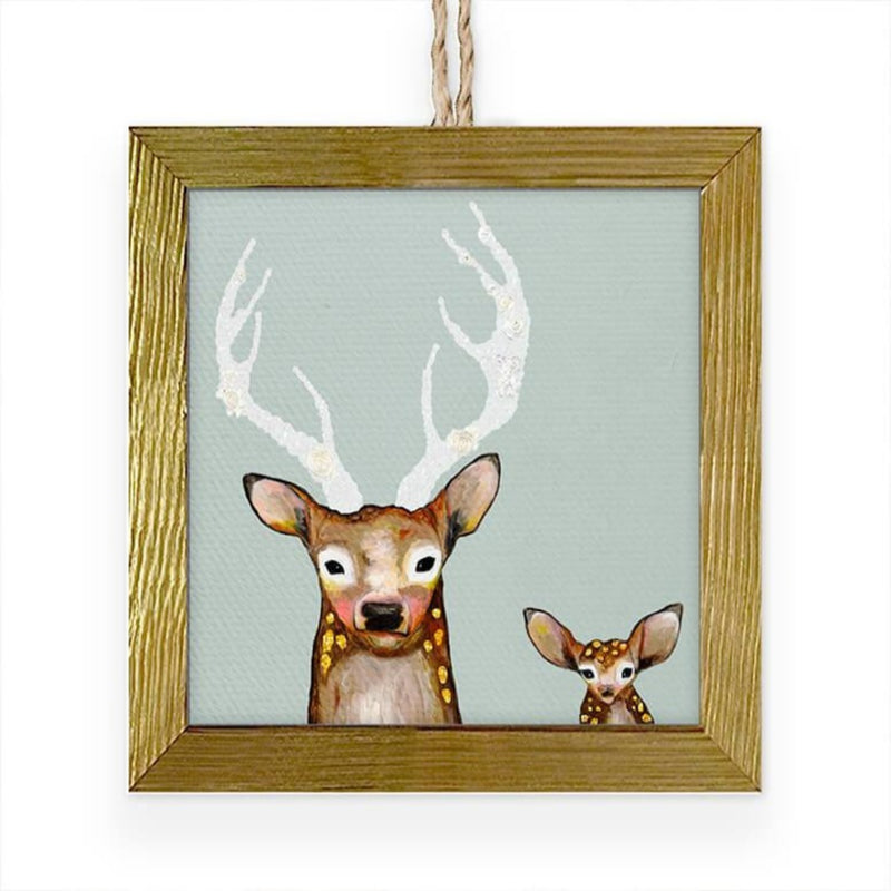 Frosted Buck and Baby Embellished Ornament 3.5x3.5