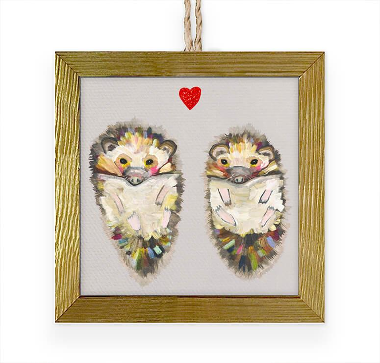 Hedgehog Love Embellised Ornament 3.5x3.5