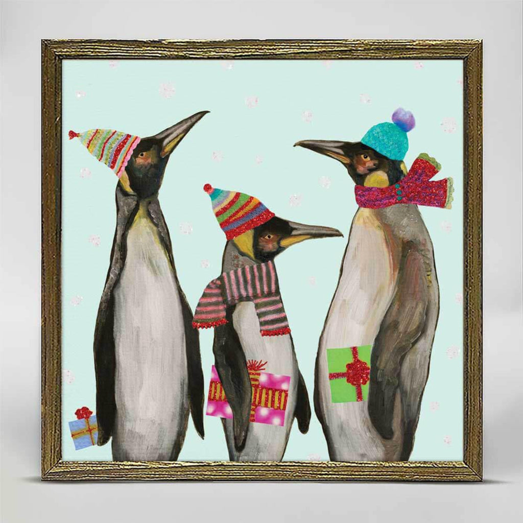 Holiday Penguins Embellished Mini Framed Canvas 6x6