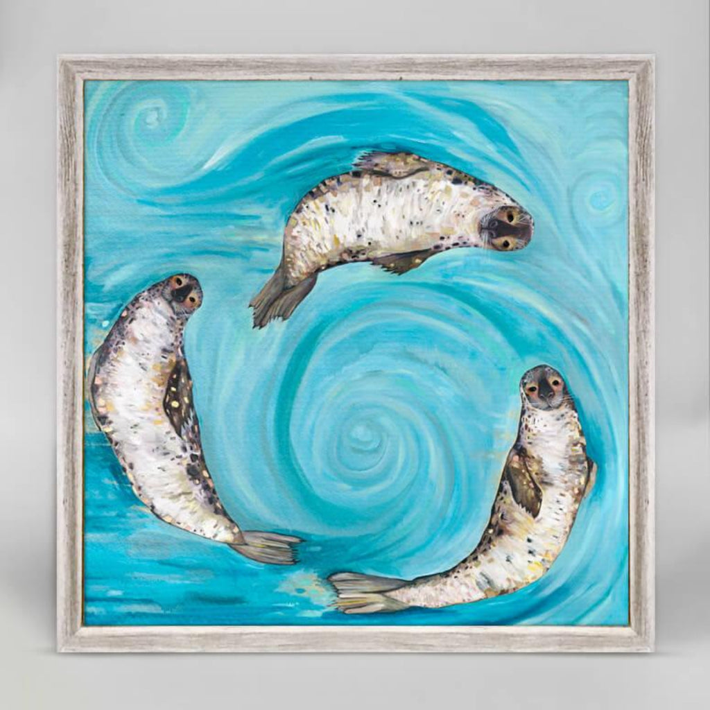 Ice Seals Rustic White Mini Framed Canvas 6x6