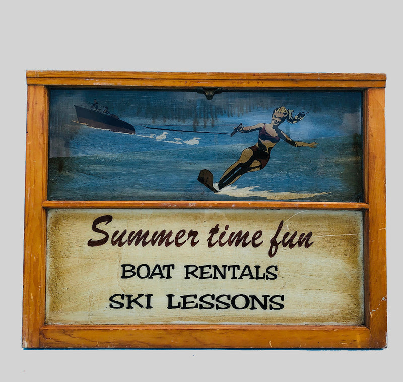 Summer Time Fun Painted Antique Window Art