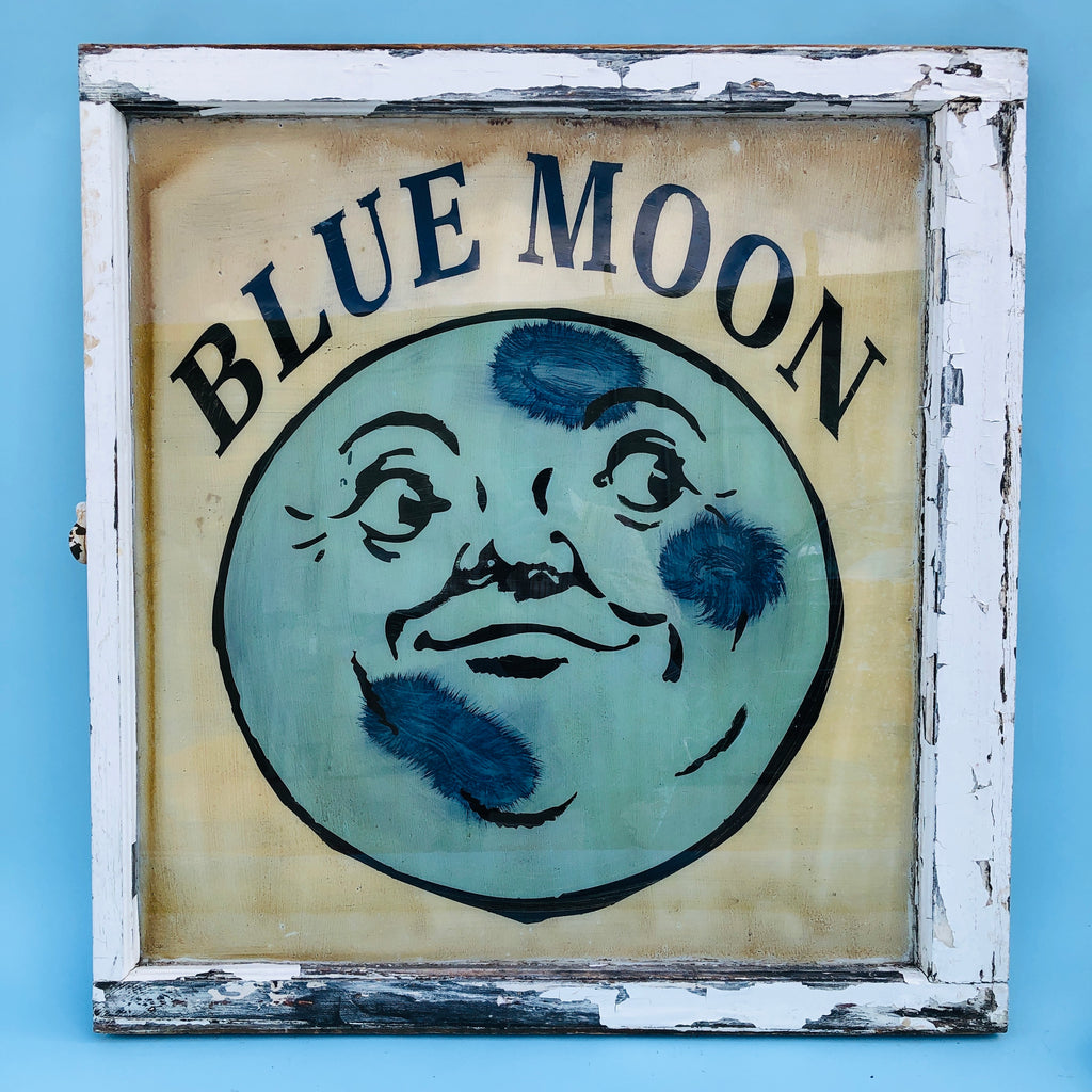 Blue Moon Painted Antique Window Art