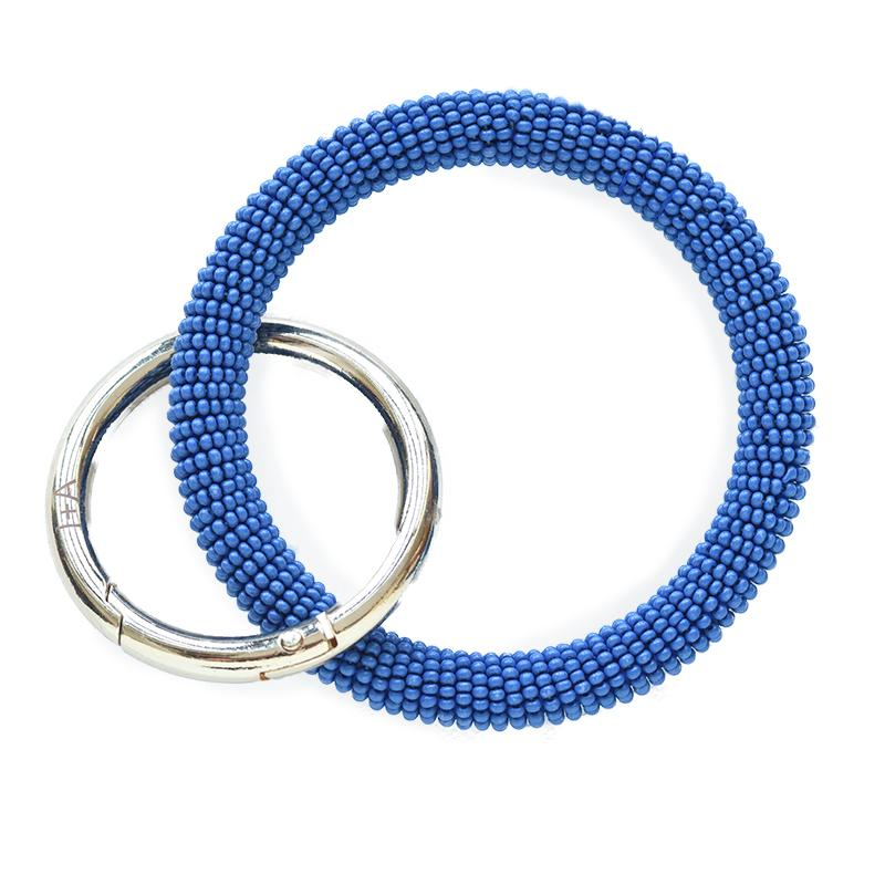 seed-bead-key-ring-lapis-keychain