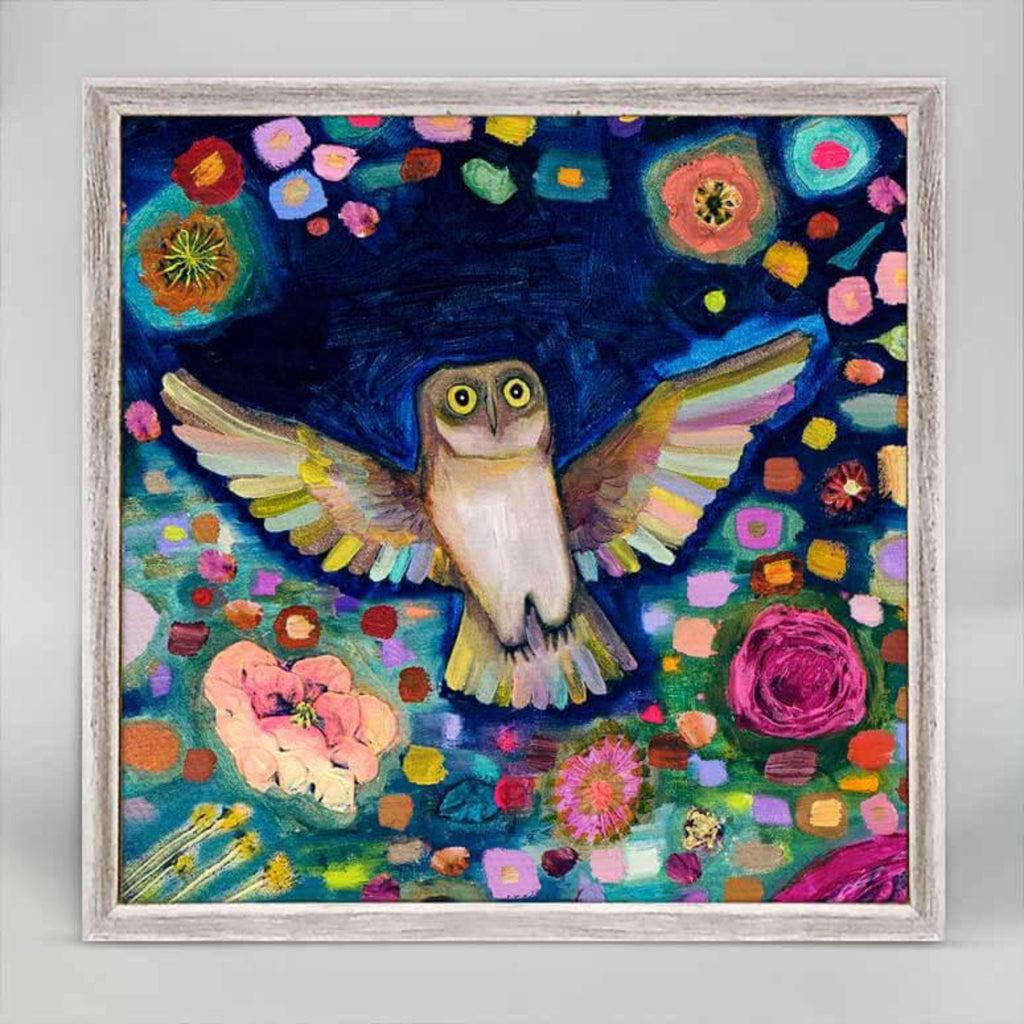 Into The Woods Owl Rustic White Mini Framed Canvas 6x6