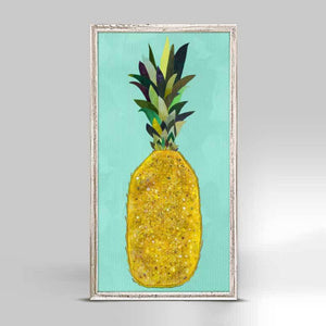 Jeweled Pineapple Rustic White Mini Framed Canvas 5x10