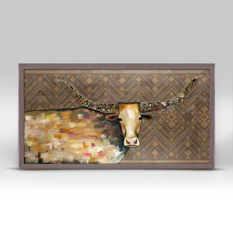 Longhorn Geode Copper Mini Framed Canvas 10x5