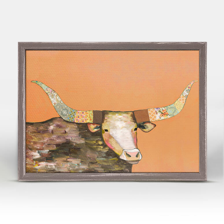 Longhorn on Orange Rustic Natural Mini Canvas 5x7