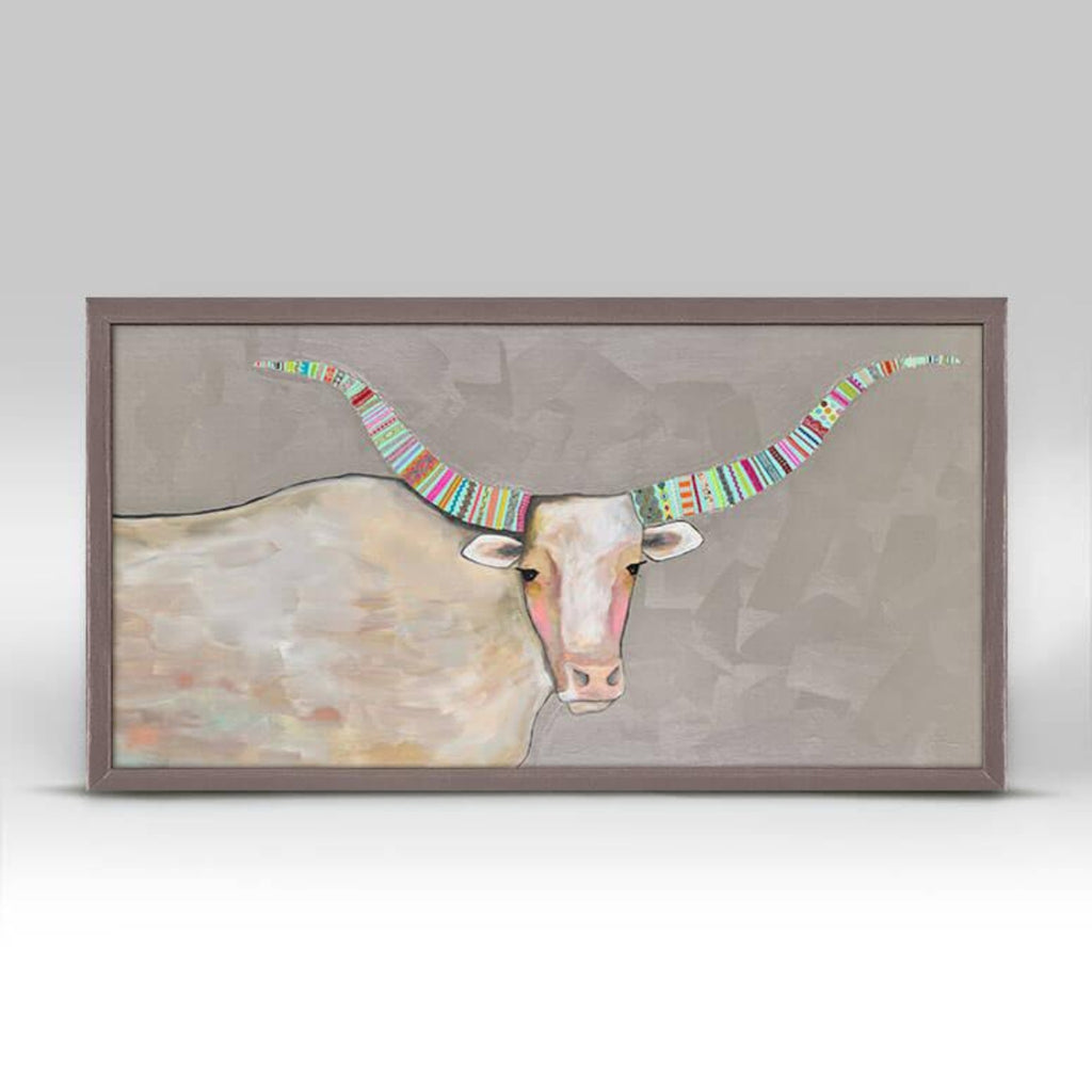 Longhorn on Pearl Gray Mini Framed Canvas Rustic 10x5