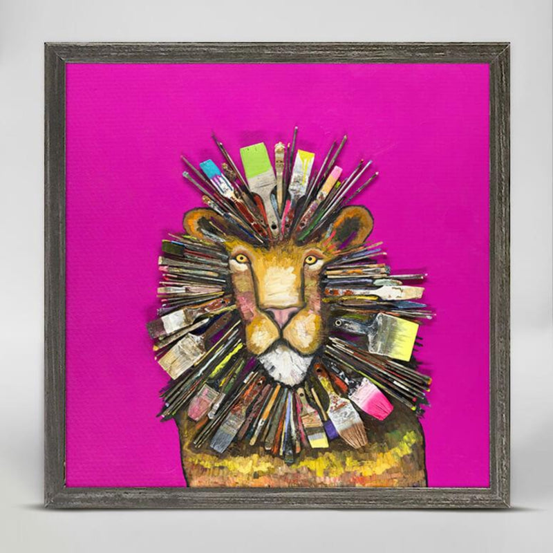Paintbrush Lion Mini Framed Canvas 6x6