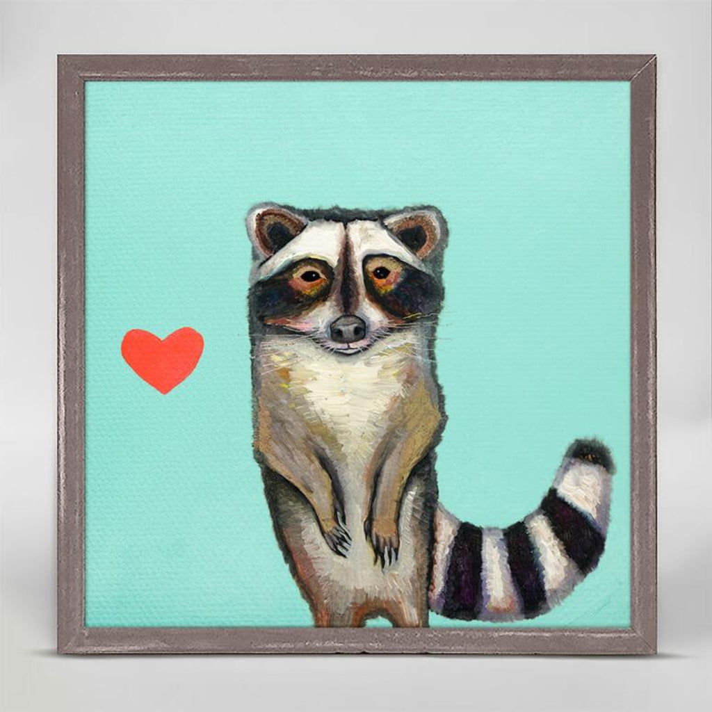 Raccoon Rustic Natural Mini Framed Canvas 6x6