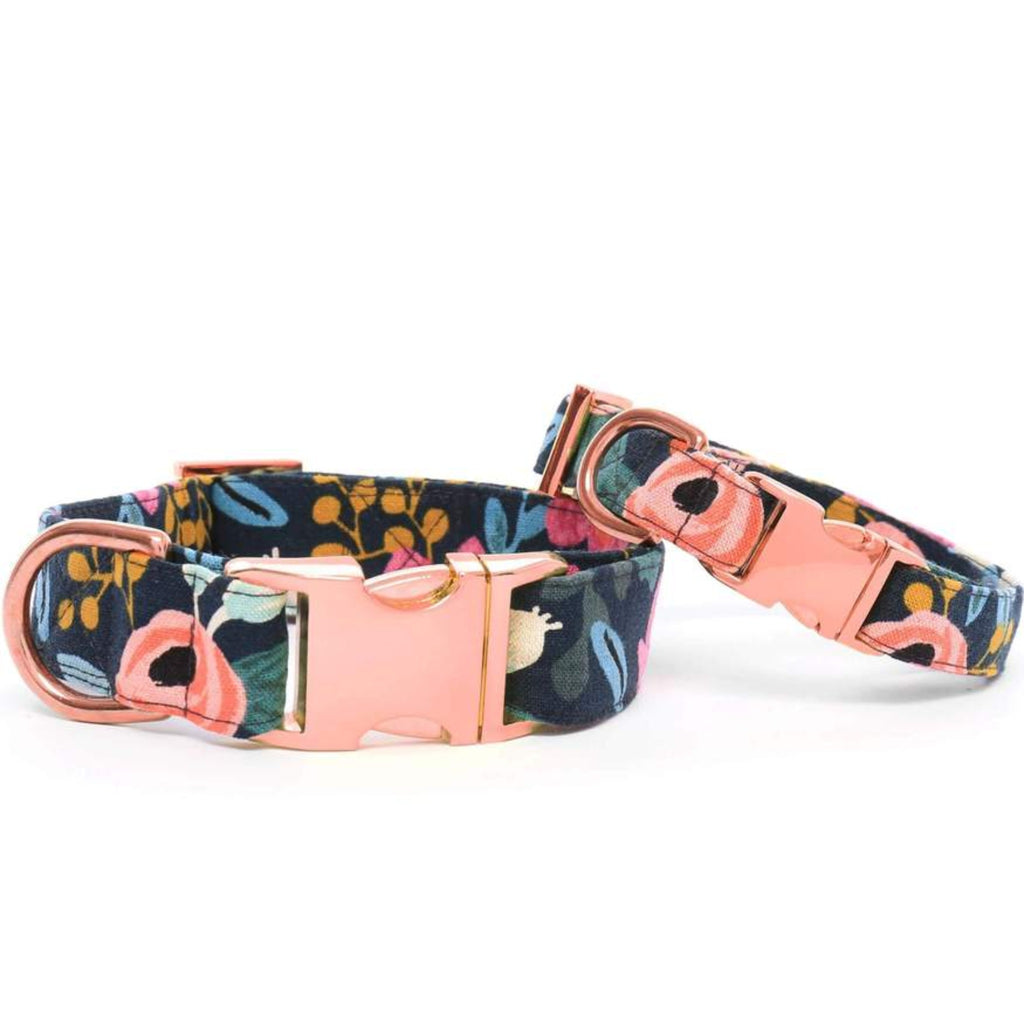 Rosa Floral Navy Dog Collar Rose Gold