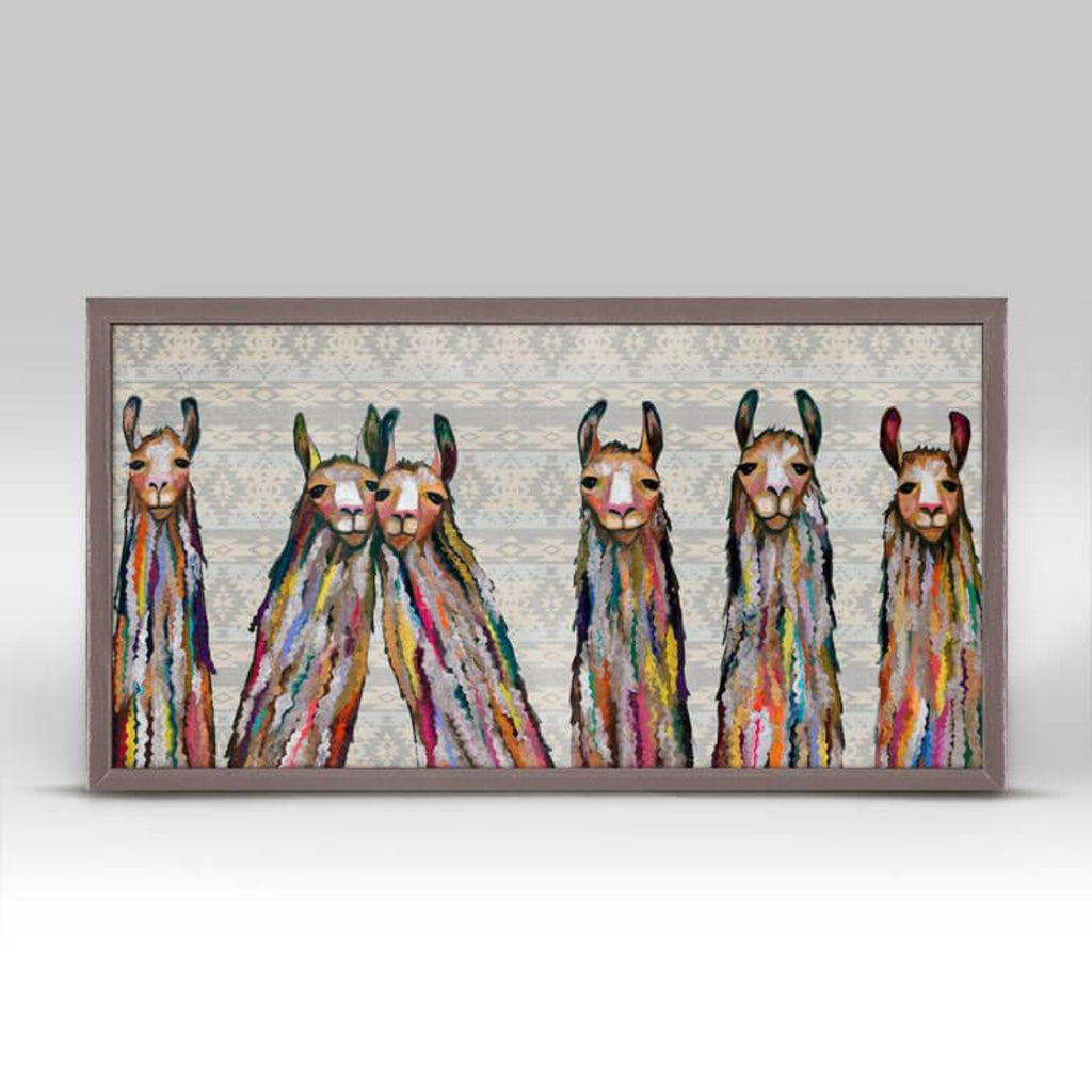 Six Lively Llamas Tribal Mini Framed Canvas 10x5